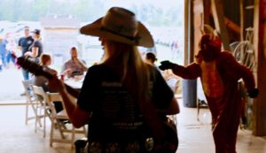 The Honky Tonk Angels Band plays in the Barn after the event.